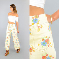 70's Cropped FLORAL Bell Bottoms