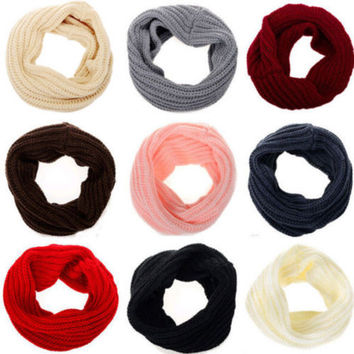 1PC Women Lady Winter Warm Infinity Circle Cable Crochet Knitted Cowl O Ring Neck Long Scarf Shawl