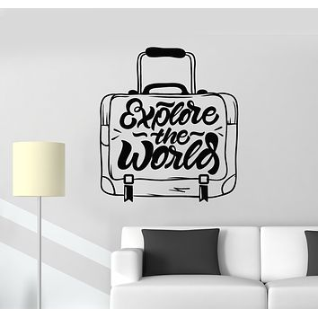 Vinyl Wall Decal Words Explore The World Tourism Travel Suitcase Stickers Mural (g1557)