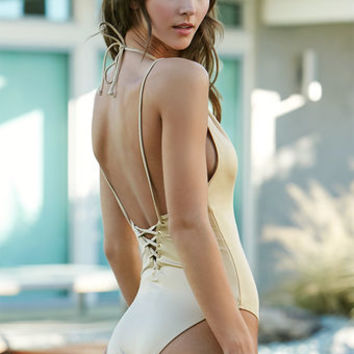 LA Hearts Shiny Halter One Piece Swimsuit at PacSun.com