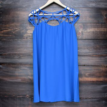 caged up flowy chiffon dress in cobalt blue