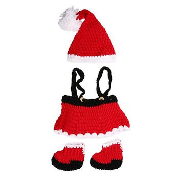 Baby Christmas Clothes Newborn Crochet Knitted Costume Hat Pants Shoes Outfit Infant Photography Props