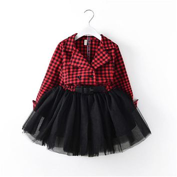 Fashion Children Girls Dress For Girls Red Plaid Long Sleeve Patchwork Tutu Dresses Princess Pageant Outfit Kids Clothes