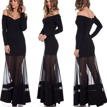Off Shoulder Solid Mesh Pleated Long Party Dress