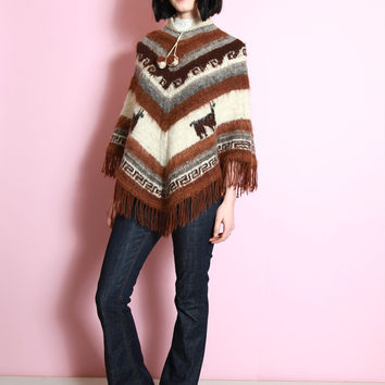 Vintage 1970's Brown and White Striped Wool Festival Cape