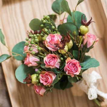 """Artificial Flower Bouquet Pink Rose Flower in the Greenery 12"""" Tall"""