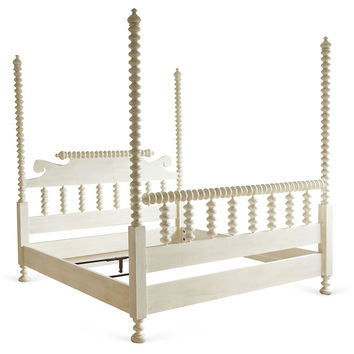 Coco Spindle 4-Poster Bed, White, Four Poster Beds