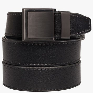 Black Leather Belt with Square Buckle