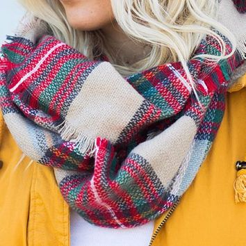 Warming Trend Taupe Multi Plaid Scarf