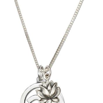"Sterling Silver 18"" Om Or Ohm Symbol Necklace With Lotus Flower"