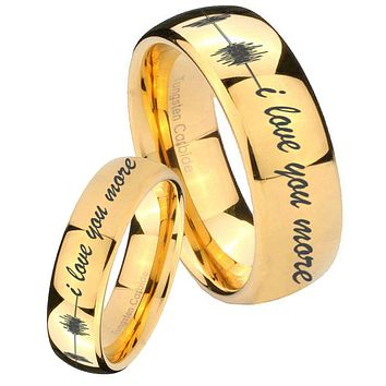 His Her Glossy Dome Sound Wave i love you more more 14K Gold IP Tungsten Wedding Rings Set