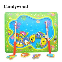 Wooden Magnetic Fishing Game Board Wood Toys Puzzles Baby Educational Toys Boy Kids Children
