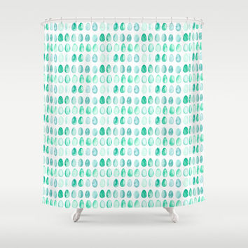Robin's Egg Blue Shower Curtain - watercolor egg pattern shower curtain in turquoise, aqua, blue