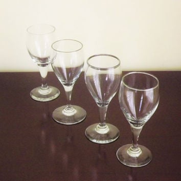 Clear Cordial Glasses, Wine Tasting Glasses, Barware, Small Stemmed Glass, Teardrop Sherry Glass, Shot Glass, Set of 4 Mini Wine Glasses