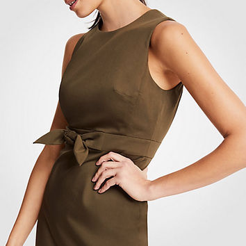Cotton Sateen Tie Front Sheath Dress | Ann Taylor