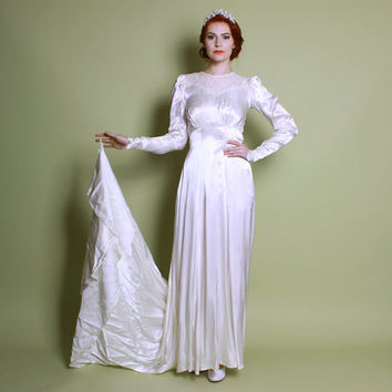 30s 40s Satin WEDDING DRESS / Off White Beaded Bridal Gown w Train, s