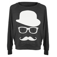 Womens Sweatshirt MUSTACHE Hat Wayfarer Raglan Pullover - American Apparel Sweater - S M and L (8 Color Options)