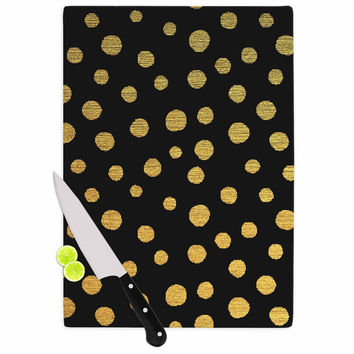 "Nika Martinez ""Golden Dots in Black"" Yellow Cutting Board"
