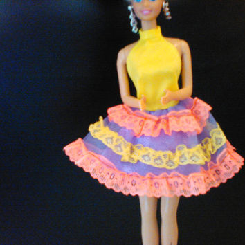 Vintage Barbie Doll Dress, Neon Short Party Dress, Yellow Purple Pink Halter Top, Snap Closure, 1980's Barbie Clothes