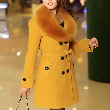 Double Breasted Shearling Wool Coat