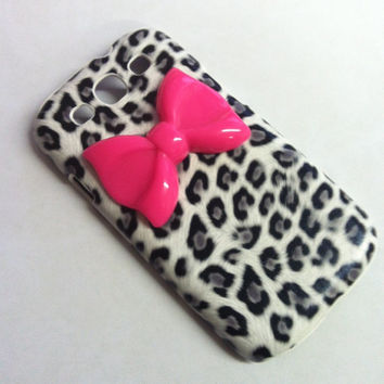 Samsung Galaxy S3 SIII Gray Leopard Cheetah w/ Hot Pink Bow  case