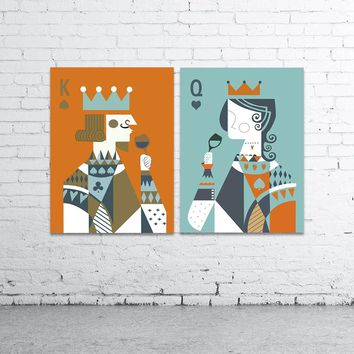Cool WANGART Nordic Poster Canvas Art Print Cartoon Kids Poker Face King Queen Wall Art Paint Pictures For Living Room Home Decor JY2AT_93_12