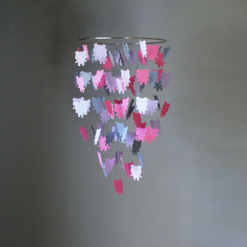Medium Pink, Purple, and Gray Teddy Bear Chandelier