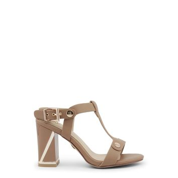 Laura Biagiotti Brown Round Toe Studs Ankle Strap Sandals