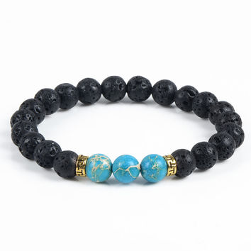 Natural Stone Bracelet & Bangle With Lava Rock Bracelet Of Stretch Buddha & Yoga