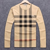 Burberry spring and autumn men's plaid classic round neck long-sleeved sweater khaki
