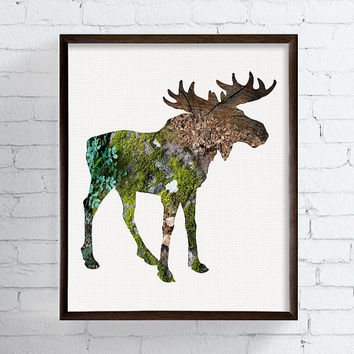 Moose Art Print, Moose Poster, Woodland Animals, Rustic Art Print, Country Decor, Woodland Nursery, Wildlife Art, Cabin Decor, Nature Art