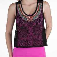 Living Doll Front Lace Cropped Tank Top