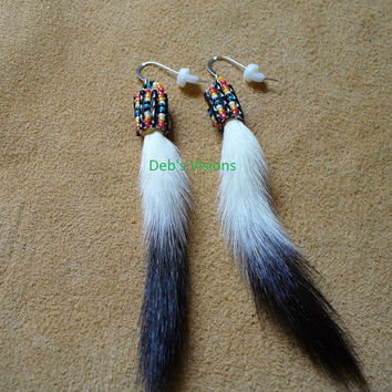 Native American Style loom beaded Ermine Tail earrings