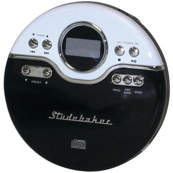 Studebaker(R) SB3703BW Personal Jogging CD Player with FM PLL Radio (Black/White)
