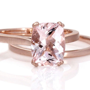 Morganite Engagement Ring & Wedding Band Large Cushion Solitaire Wedding Set 14K Rose Gold Brushed Satin