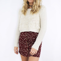 Over The Moon Cream Ribbed Sweater Crop Top