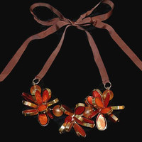 Autumn Orange Flower Necklace, 3 Dimensional Stained Glass Look