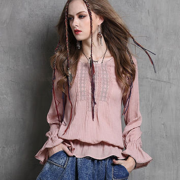 2017 New Office Top for Women Long Sleeve Blouses Ruffles Loose O Neck Women Blouses Boho Embroidery Casual Shirt Women Tops