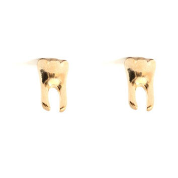 Molar Tooth Stud Earrings Gold Tone EA18 Tribal Cannibal Dental Grill Posts Fashion Jewelry