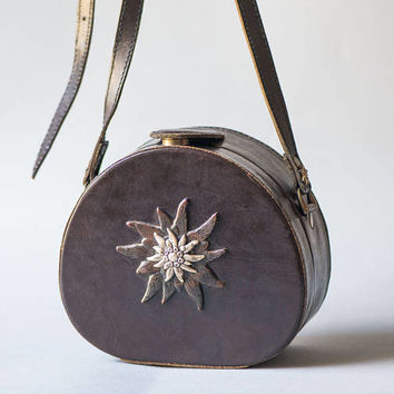Round Edelweiss leather purse by Sima Gurtel limited edition repurposed Swiss Army leather dark brown bag small handcrafted shoulder bag