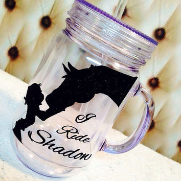 "18 oz Travel Acrylic  "" Mason Jar Tumblers "" Monogram birthday  teacher wedding gifts favors , horse lover gifts brides gift"