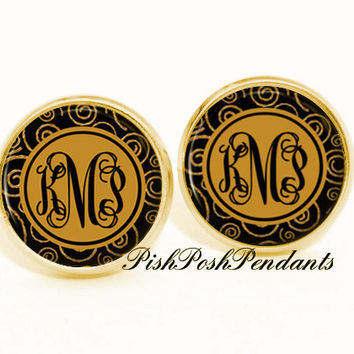 Black Helix Monogram Earrings - Personalized Earrings - Stud Earrings - Style (540)