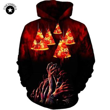 Unicomidea Men's Hoodie Long Sleeve Pullovers Pizza/Zombies Scary 3D Printed Hoodies Autumn Sweatshirts