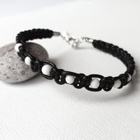 Black leather bracelet white glass knotted macrame makrame men women unisex