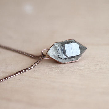 Herkimer Diamond Necklace Crystal Necklace Quartz Necklace Raw Stone Necklace Herkimer Pendant Raw Diamond Handcrafted Gemstone Necklace