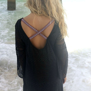 Cayman Islands Bell Sleeve Aztec Criss Cross Back Lace Black Dress