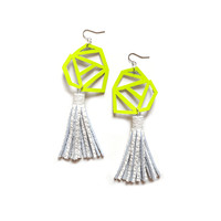Neon Geometric Yellow Earrings with White Leather Tassels | Boo and Boo Factory - Handmade Leather Jewelry