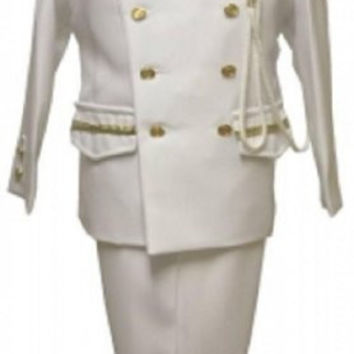 Baby Boy Christening Sailor Army Dress Outfit Sizes -S-m-l-xl /#2048 White-gold