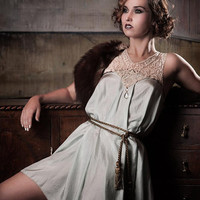 Duck Egg Silk Dress with antique lace collar