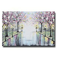 GICLEE PRINT Art Abstract Painting Pink Blossoming Cherry Trees Park Flowers Canvas Prints Grey Decor